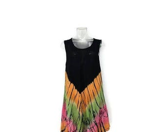ON SALE Vintage Black x Colorful  Tie-Dye Sleeveless Rayon Dress/casual Dress from 1980's*