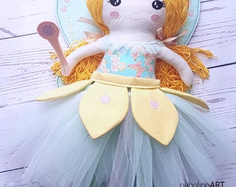 Spring Fairy-Cloth doll-Keepsake -Girl present-Collectible dolls -Handmade-Rag doll-Unique-Yarn hair