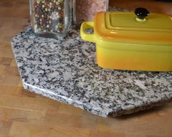 """Granite Lazy Susan - Table Centerpiece Turntable - Cheese Platter - Octagon 10"""" x 10"""""""