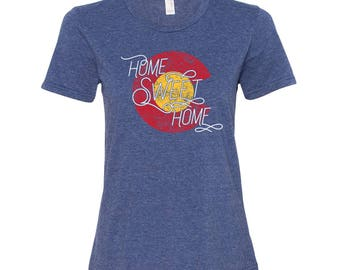 Colorado Home Sweet Home - State Pride Womens Ringspun T Shirt - Heather Blue