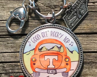 Go Vols University of Tennessee Keychain with Tennessee Charm