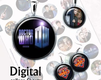 Doctor Who Bottlecap Digital Collage Sheet  1,5 inch, 1 inch, 15 mm Jewelry Supplies, Bottle Caps, Crafts, Scrapbooking