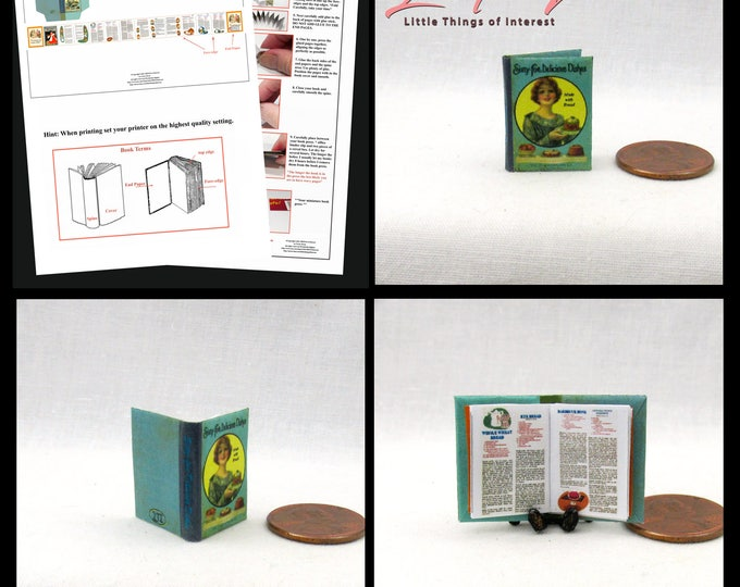 COOKBOOK Book Kit PDF Tutorial 1:12 Miniature Dollhouse Book Kitchen Recipe Cook 65 Delicious Dishes DIY