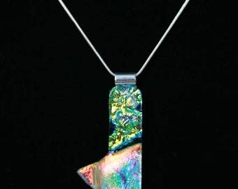 Blue Arrow. Unique fused glass pendant. One of a kind.