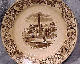 19thC Ironstone Wolfe-Montcalm Monument Quebec Canada Scenes Plate 1880s
