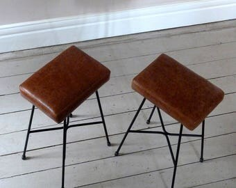 Pair of Tan Leather Counter Stools