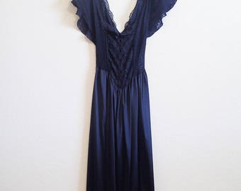 Black Lace Nightgown Small Medium - Sheer Lace Bodice