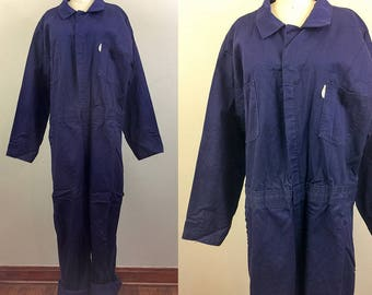 Vintage Blue WORKWEAR Coveralls Jumpsuit Boilersuit XL