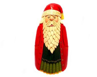 Hand Carved Wood Santa Christmas Collectible