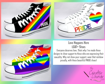 Hand Painted Shoes, LGBT Pride, Rainbow Flag, Gay Rights, Peace and Love, Unique Painted Shoes, Show your Support, Personalised Sneakers