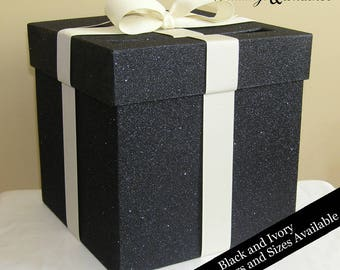 Black Glittered Card Box Choose Your Size and Colors