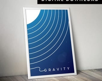 GRAVITY (Printable Movie Poster, Gravity Poster, Gravity Wall Art, Minimalist Movie Poster, Art, Graphic Poster)