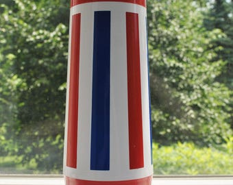 Vintage Thermo Serv Red White & Blue Thermos 4th of July West Bend 1970's Independence Day Mod