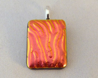 Red Orange Dichroic Fused Glass Necklace Pendant, Fused Glass, Fused Glass Pendant, Dichroic Pendant, Dichroic Necklace, Orange