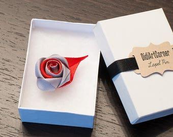 Rose Lapel Pin / Rose Boutonniere / lapel pin flower / Men's Lapel Pin / Gray and Red Rose Lapel Pin / lapel pins men