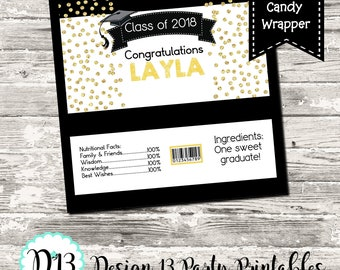 Black and Gold Confetti Graduation Candy Bar Chocolate Bar Wrappers Favor Print Your Own