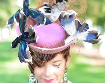 In-Stock: Vintage 1940s-Style Wild Faux Bird Felt Tilt Topper Hat with Veiling