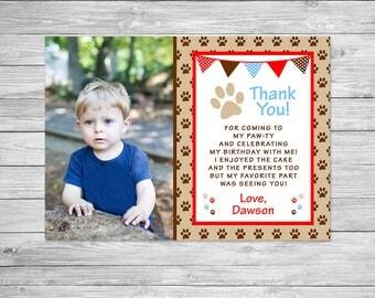 Puppy Dog Birthday Thank You Printable, Puppy Dog Paw, Paw-ty Birthday Thank You