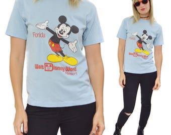 Vintage 80s Walt Disney World Resort Florida Mickey Mouse T Shirt Sz M