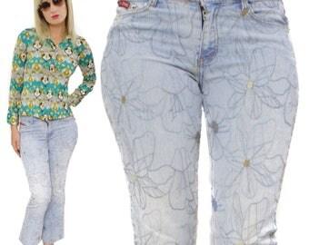 Vintage 90s 2G Two Gwear Jeans USA Modern Urban Jeanswear Floral Flare Bottoms Pants