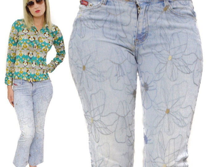Vintage 90s 2G Two Gwear Jeans USA Modern Urban Jeanswear Floral Flare Bottoms Pants