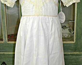 IN STOCK Heirloom Dress for Easter with French Lace, High Yoke and Neck