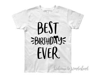 BEST BIRTHDAY EVER solid Mickey Ears tee tank top shirt top baby kids boys men adult women outfit