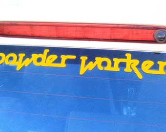 Midnight Oil Fan 2 sets of Powder Worker - Yellow  adhesive vinyl decals