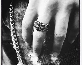 Etherial Handmade Cross Ring Crucifix Ring Trinity Ring Outlaw Ring Biker Ring Silver Cross Ring Gold Mafia Ring Silver Cross Biker Ring