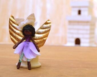 Flower Fairy Doll - flower fairies, miniature fairy doll, miniature fairies, black fairy doll, black fairies, waldorf fairy doll, pixie doll