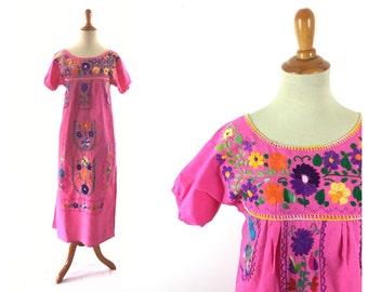 Mexican dress, boho dress, bohemian dress, pink dress, hippie dress, caftan hippie clothing, boho clothing, embroidered dress, summer dress