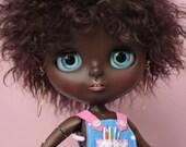 Blythe OOAK Custom art doll. Black Blythe.
