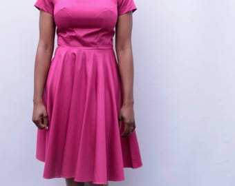 Magenta Pink dress UK size 10-12 vintage style tea dress full skirt boat neck vintage dress handmade by The Emperor's Old Clothes