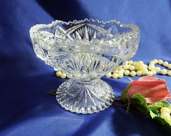 Antique circa 1912, Open Jam/Jelly Dish by Imperial Glass-Ohio Nucut #212, Star & Fan Design, Clear
