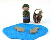 Fisherman Play Set - Pond and Fish - Peg Doll Play Set