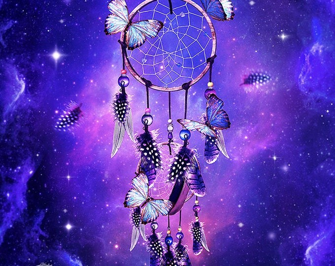 purple fantasy dream catcher with butterflies art print