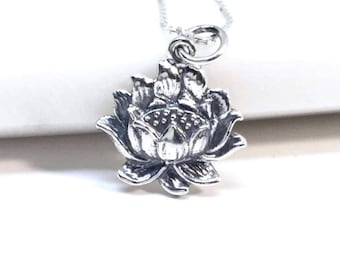 Lotus Necklace Sterling Silver Lotus Flower Small Flower Charm Realistic Floral Silver Necklace Zen Yoga Jewelry
