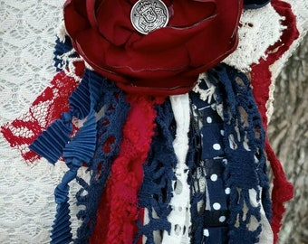 AMERICANA-Upcycled Fabric Flower Pin/Brooch