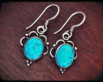 Ethnic Turquoise Earrings - Boho Turquoise Earrings