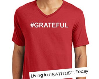 Men's, S-3XL, Red, V neck, #GRATEFUL tee, Recovery tee, 12 step tee, inspirational tee, yoga, positive vibes, urban wear, street wear
