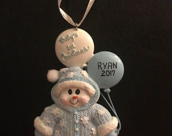Baby's First Christmas / Personalized Christmas Ornaments / Baby Boy / Snowman with Balloons