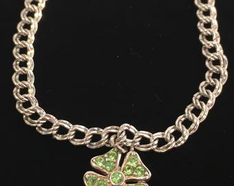 Sterling Silver Mid-Century Designer Elco Chain Bracelet With Four Leaf Clover Charm