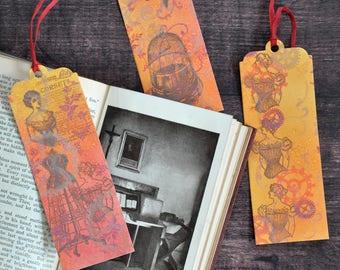 Artist Bookmark Set 2, Set of Three Steampunk Style Handmade Bookmarks FREE UK SHIPPING Book Lover Gift stocking stuffer