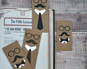 Magnetic Gentleman Bookmark set, FREE UK SHIPPING Handmade Dapper Hipster bookmarks One of a Kind Book Lover Bookworm Gift stocking stuffer