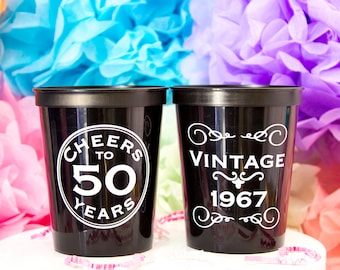 Personalized Cup, Custom Birthday Cup, Cheers to 50 Years, Birthday Favor, Stadium Cup, 50th Birthday, Milestone Birthday, Plastic Beer Cup