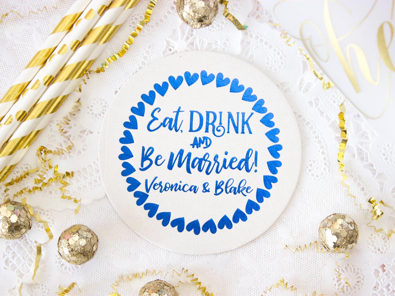 Eat, Drink & Be Married, Custom Coasters, Wedding Coasters ...