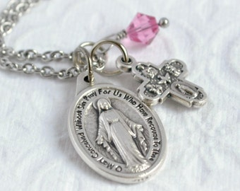 ON SALE/Blessed Mother Italian Medal Necklace/ Miraculous Medal Necklace/Catholic Jewelry/Virgin Mary Necklace/Religious Medal Necklace