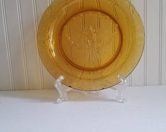 L.E Smith Heritage Vintage amber glass eagle ashtray american eagle ashtray vintage ashtray gold ashtray smoking accessories Americana decor