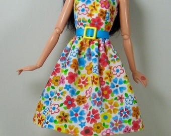 """Fashion Doll Clothes - Multi-Colored Floral Print Dress for Modern (belly button) 11 1/2"""" Fashion Dolls - 277"""