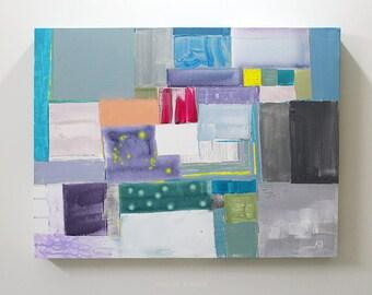 Abstract ART. Peaceful Mind . ACRYLIC. Artist Asiya Bajwa. 32 x 24 x 2.5 inches. Free shipping